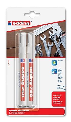 Edding 4-750-2 Marqueur peinture Pointe 2 / 4 mm Blanc Lot de 2 (Import Allemagne)