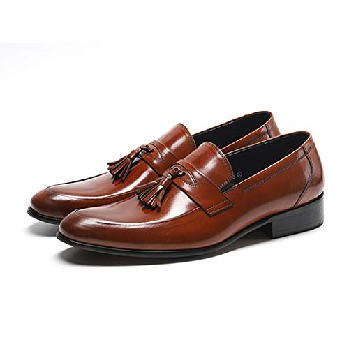 Jeff-chy Herren Keaton Moc Toe Kiltie Tassel Slip-on Loafer Pointed Tassel Ventilated Driving Shoes Men,Brown,40 -