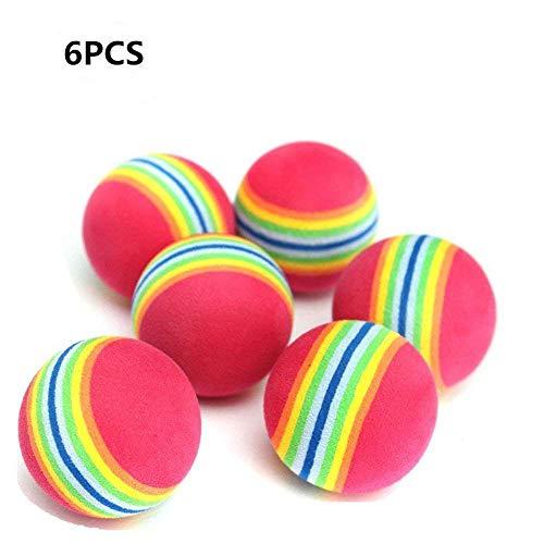 Demarkt Schaumstoff Katzenspielzeug Katze Spielbälle Regenbogenball 3.5cm (6 Stück)