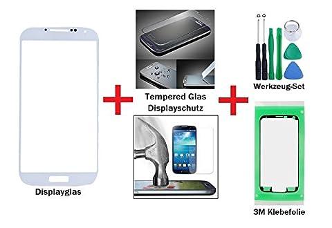 iTech Germany PREMIUM Affichage kit de réparation de verre pour Samsung Galaxy S4 Blanc - Avant écran externe tactile pour i9500 i9505 i9515 LTE + Protecteur de Verre Trempé, 3M Adhésif et