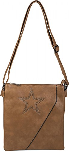 styleBREAKER Messenger Bag Umhängetasche mit Nieten Stern und überlappender Optik, Schultertasche, Handtasche, Damen 02012105, Farbe:Dunkelblau Camel-Braun