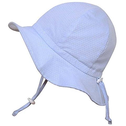 Chapeau contre le soleil pour bébé avec mentonnière, cordon d'ajustement de la taille de la tête, respirant , FPS de 50+(S: 0-9mois, Losanges bleus