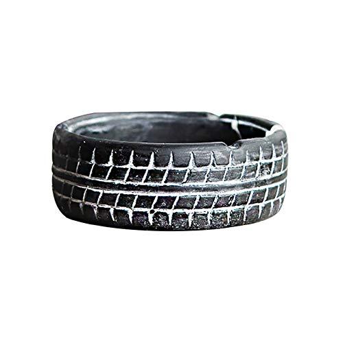 Lubier Cement Tire Cenicero Sala de Estar Mesa de café de Oficina Adornos de Escritorio Decoraciones industriales de la Vendimia Size 5cm*10.5cm (Negro)