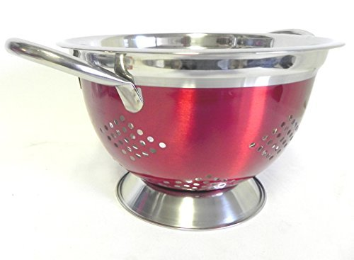 3 Quart Colander Made of Powder Coated Steel Red ,Wide Base for Stability Chrome Plated Handles and Stainless Steel Rims by DINY Home & Style by Eurohome -