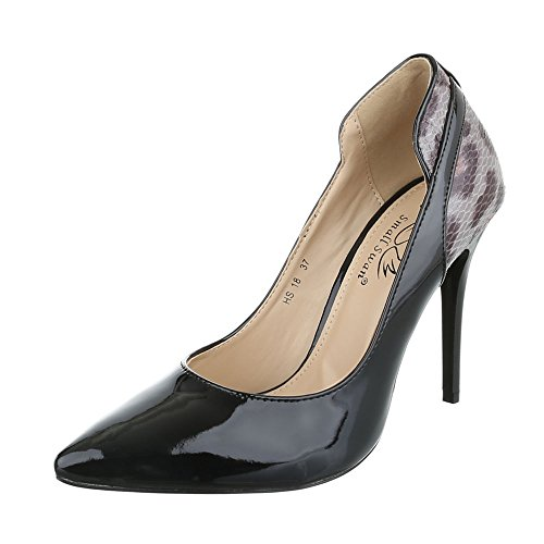 High Heel Damenschuhe Plateau Pfennig-/Stilettoabsatz High Heels Ital-Design Pumps Schwarz HS18