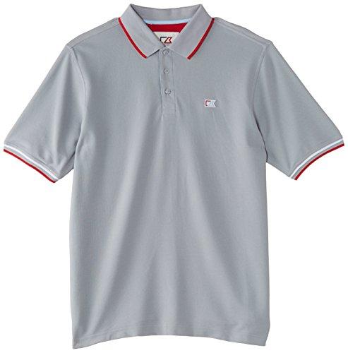 Cutter & Buck - Maglietta a maniche corte in piqué di cotone, uomo, stile Polo, con abbottonatura rigata grigio - grigio