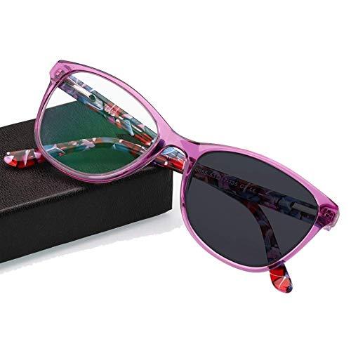 H&RB Lesebrille, Optische Brillen Sonnenbrillen ohne Brille, Farbwechsel im Freien, Strahlenschutz, UV-Schutz, für Männer/Frauen,Purple,+3.25