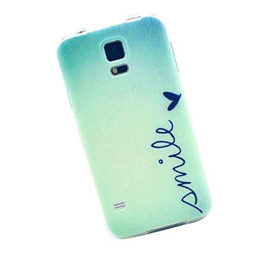 Cuitan Hoch Qualität Weiche TPU Hülle für Samsung Galaxy S5, Lächeln Muster Rück Abdeckung Modisch Schutzhülle Tasche Case Cover Handytasche Rückseite Tasche Back Cover Handyhülle für Samsung Galaxy S5 i9600 - Smile