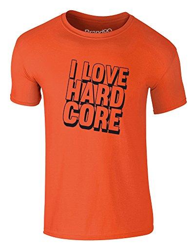 Brand88 - I Love Hard Core, Erwachsene Gedrucktes T-Shirt Orange/Schwarz