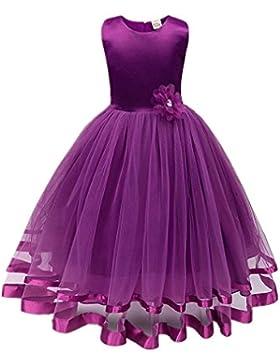 ❤️Kobay Blume Mädchen Prinzessin Brautjungfer Festzug Tutu Tüll-Kleid Party Hochzeit Kleid