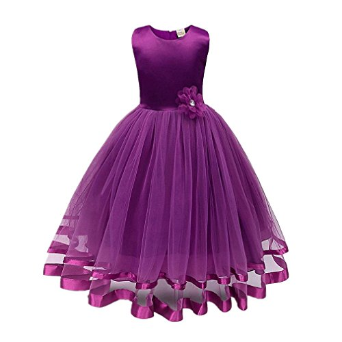 ❤️Kobay Blume Mädchen Prinzessin Brautjungfer Festzug Tutu Tüll-Kleid Party Hochzeit Kleid (Lila, 130 / 5 Jahr)