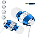 IN EAR EARPHONES HEADPHONE METAL NOISE ISOLATING FOR MP3 IPOD IPHONE 4 5 BLUE