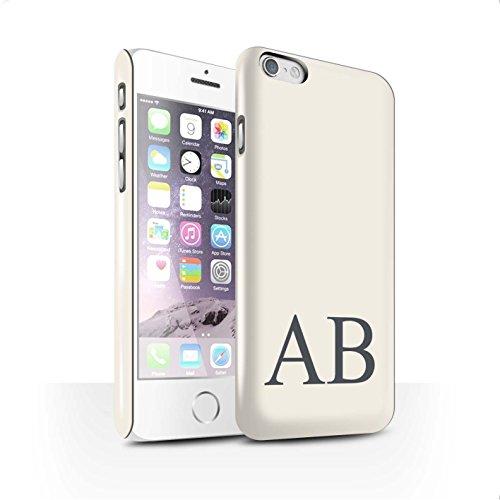 Personalisiert Pastell Monogramm Glanz Hülle für Apple iPhone 6S / Grünes Design / Initiale/Name/Text Snap-On Schutzhülle/Case/Etui Elfenbein