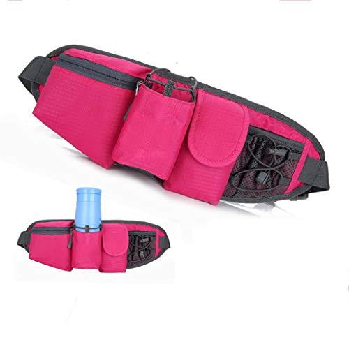 isex Outdoor Sport Gym Camping Wandern Fahrrad Hüfttasche Mit Wasserflaschenhalter Verstellbarer Gürtel (Farbe : Rosa) ()