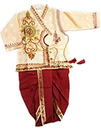 Dhoti Kurta Party wear Sherwani | Kids Baby Boys Cotton Red/Maroon Krishna Style Kurta & Dhoti| Janamastami Special | Bal Gopal Dress for Baby Girls & Boys |Fancy Dress Costume | Krishna Dress | Makhan Chor Dress|