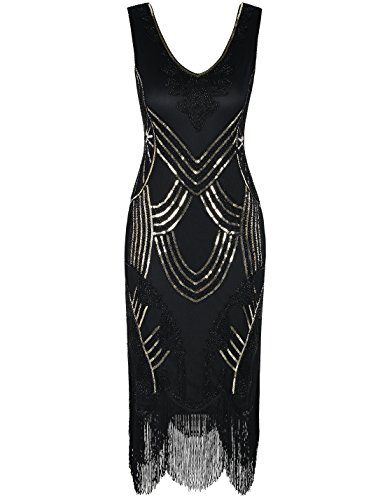 (PrettyGuide Damen 1920er Gatsby Art Deco Perle Franse Flapper Charleston Kleid XL Gold)