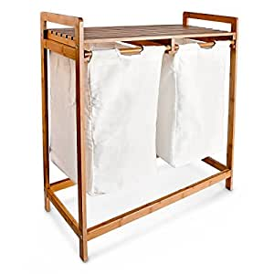 Relaxdays panier linge corbeille 2 compartiments bambou - Panier a linge 2 compartiments ...