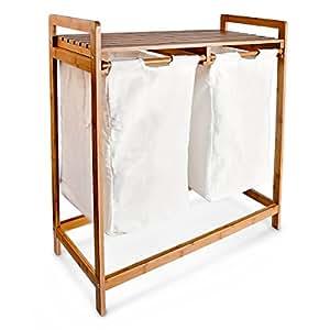 Relaxdays panier linge corbeille 2 compartiments bambou sacs en toile blanc - Panier a linge 2 compartiments ...