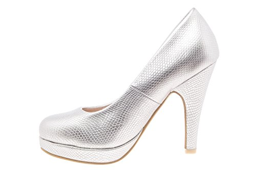 AM554 - Andres Machado - Plateau-Pumps in Soft Taupe Braut Gravur Silber
