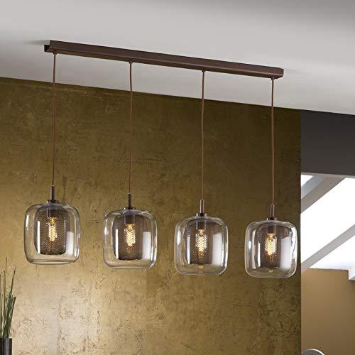 SCHULLER - Lámpara Colgante 4 Luces, Colección FOX, Color Chocolate