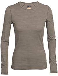 Icebreaker Oasis Longsleeve Crewe 100514 - Camiseta de manga larga para mujeres, color marrón, talla S