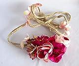 Cinturón de cuerda de flores en tonos rosas. Envío GRATIS 72h