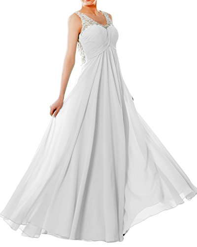 MACloth Women Straps V Neck Chiffon Lace Long Prom Dress Formal EveningBall Gown white