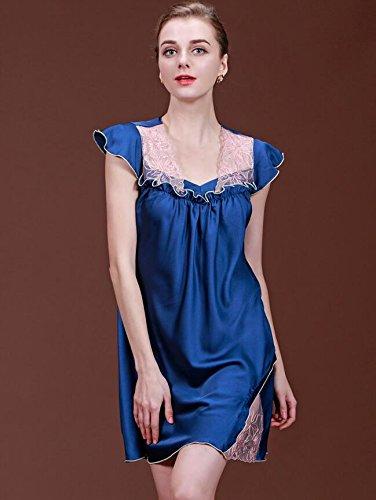 ZC&J Hochwertiger Dünnschnitt Seidenpyjama, Frau Sommer dünner Abschnitt sleeveless silk Nightgown / Badrock,blue,XL Blue