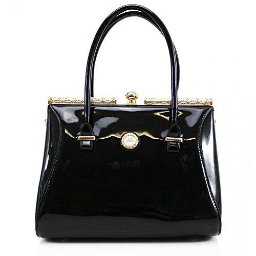 LeahWard® Damen Kunstleder Qualität Handtasche Damen Mode Essener Tragetasche Berühmtheit Stil Qualität Taschen CWS00363 Groß Schwarz TOTE