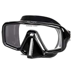 AcTopp Taucherbrille Erwachsene Tauchmaske Tauchermaske mit bruchfestem Hartglas hohe Druckfestigkeit Crashsicherheit Schwarz