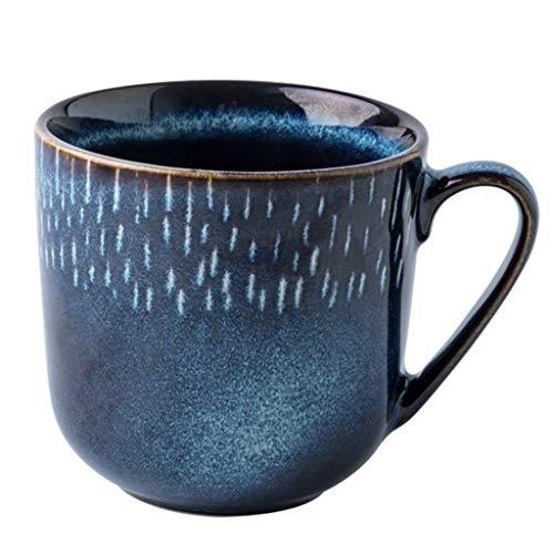 ZYCSKTL Kaffeetassen Kaffeebecher Retro-Becher, Milchkaffeetasse mit Blaulicht, einfaches Haushaltswasserglas, 375 ml (Color : Blue, Size : 375ml)