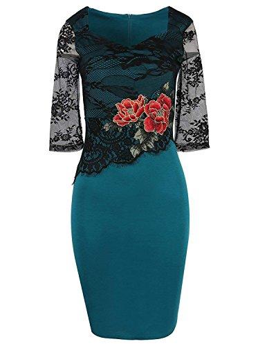 Modetrend donna vestiti pizzo manica a 3/4 rose ricamo giuntura abito maniche lunghe abiti a tulipano vestito da matrimonio banchetto sera