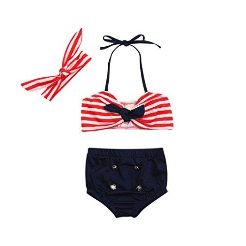 3pcs Set Baby Badeanzug FORH Baby Mädchen Neckholder Streifen Bademode +Sommer Strand Shorts Bikinihose Mit Cute Bow-knot Stirnband Casual Cool Beachwear Bikini Set Sommerkleidung (Rot, 100)
