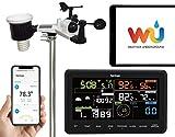 Sainlogic Professionelle Funk Wetterstation - 7 in 1 Wifi Internet WLAN Wetterstation mit Außensensor, Regenmesser, Windmesser, Wettervorhersage, Farbdisplay, Wunderground