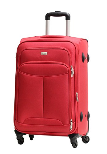 Valise Taille Moyenne Alistair One 65cm - Toile Nylon Ultra Léger - 4 Roues - Rouge