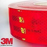 StickersLAb - Pellicola adesiva omologata retroriflettente 3M Diamond Grade 983 per la bordatura dei veicoli Rosso Bianco o Giallo al metro (1 Metro, Rosso)