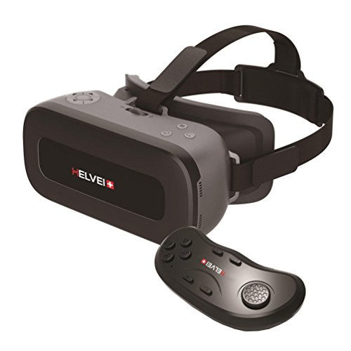 Helvei VR ALL IN ONE 2K Virtual-Reality-Visier mit Bluetooth-Fernbedienung – Schwarz/Grau