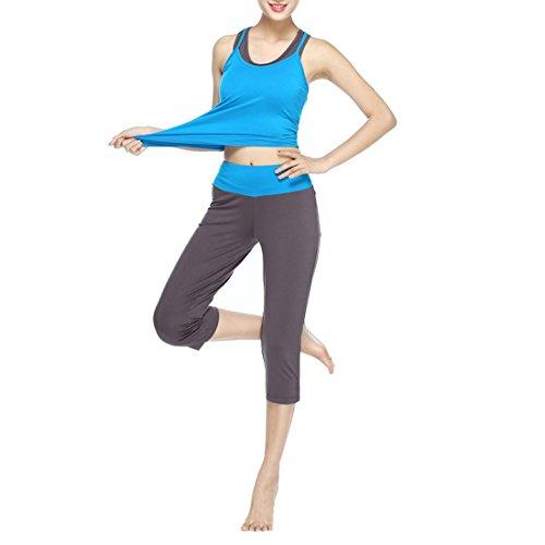 Sidiou Group Women 's Yoga-Kleidung Frühling und Sommer Sport-Fitness-Yoga-Kleidung dreiteilige Trainingsanzug Modales Yogaset (Blau, M)