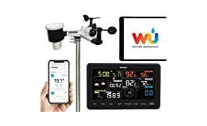 Sainlogic Professional Wireless Weather Station 10 in 1 WiFi Internet WiFi Weather Station with Outdoor Sensor, Rain Gauge Wind Gauge Weather Forecast, Colour Display