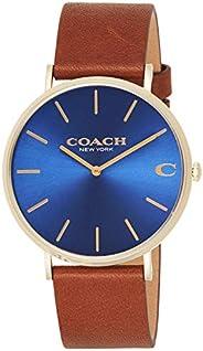 ساعة يد كوارتز للرجال من كوتش - سوار جلد بني - 14602473