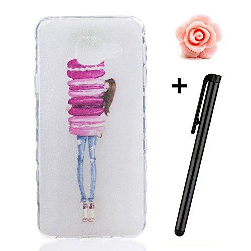 Toyym Custodia invisibile protettiva per Samsung Galaxy A3(2016) A310, ultra sottile, trasparente, in silicone flessibile, con motivo stampato, con tappo antipolvere a forma di fiore e 1pennino, plas Girl and Macarons