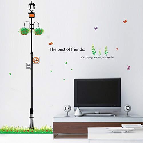 FlyonSticker Cartoon Straße Licht Blume Blaue Wand Aufkleber PVC-Modernen, Kreativen DIY Aufkleber Dekoration Schlafzimmer Wohnzimmer Kinderzimmer Tv Sofa Hintergrund Wasserdicht Abnehmbare (Blaue Blume-lichter)