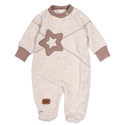 Baby Sweets Strampler Unisex beige braun | Motiv: Star | Baby Schlafanzug mit Stern-Applikation für Neugeborene & Kleinkinder | Größe: 1 Monat (56) …