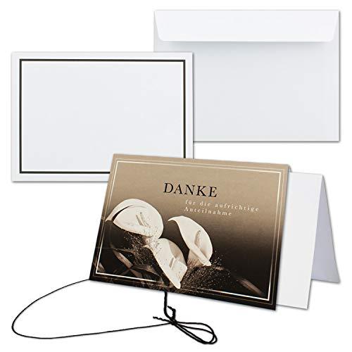 25x Trauerkarte mit Umschlag Set Danksagung - Calla - inklusive hochwertiger Box- DIN A6 Quer-Format - Danksagungskarten Trauerkarten nach Beerdigung - Trauer-Papiere by Gustav NEUSER