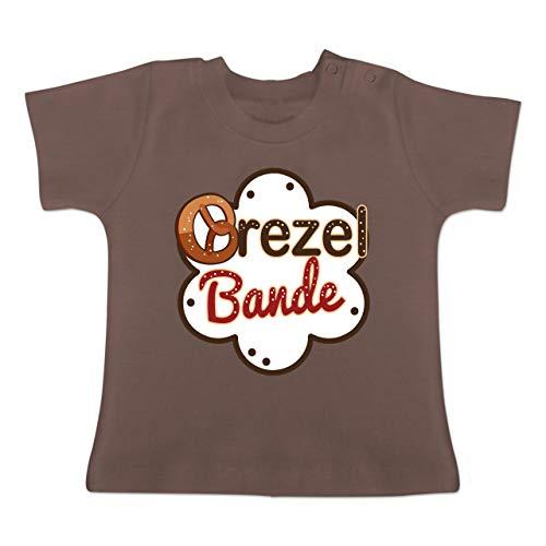 Kostüm 8 Bit Link - Oktoberfest Baby - Brezel Bande - weiß/braun - 3-6 Monate - Braun - BZ02 - Baby T-Shirt Kurzarm