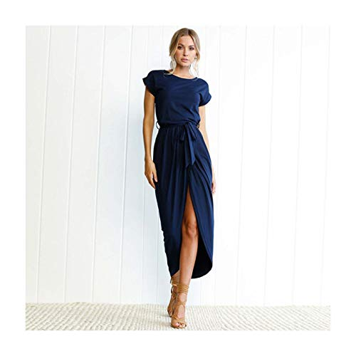 GROSIU& Women Holiday Short Sleeve Split Casual Long Maxi Dress Ladies Summer Sundress Black 18