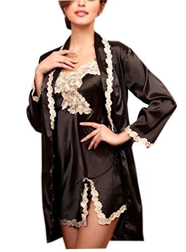 Ghope Damen 2pcs Nachtkleider + Robe Morgenmantel Schlafanzüge Satin mit Spitze Elegant Nachtwäsche Dessous Negligee Schwarz