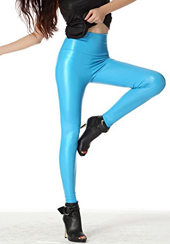 Ostenx Sexy PU Leder Look Optik Leggings Gloss finto Vita Alta Vita Bassa Collant Donne Azzurro £šM)