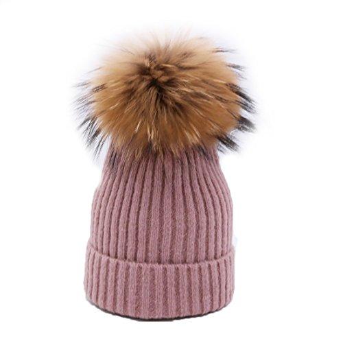 BeFur Frauen Bommelmütze Zopfmuster Pudelmütze Wintermütze Pelzmütze Fellbommel - Radiergummi Pink