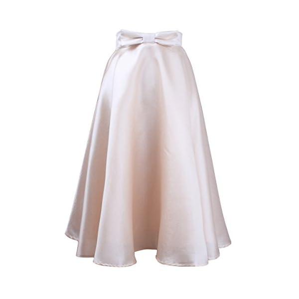 molto carino 7b294 8dedb Idgreatim Women's Vintage A-line Gonne svasate a vita alta Bowknot pieghe  al ginocchio gonne Midi